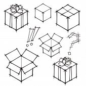 Set Of Black And White Doodle Sketches Of Gifts And Postboxes. Eps10