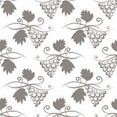 Seamless Background With Stylized Grape Branches And Leaves