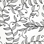 Seamless Hand Drawn Black And White Elegant Floral Background. Eps10