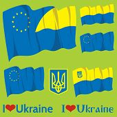Set Of Flags Ukraine And Eu