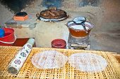 The kitchen where is prepared traditional rice paper pancakes in Cu Chi tunnels area, Vietnam.