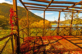 pic of apennines  - Pergola on the Lake in the Apennine Mountains Italy - JPG