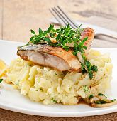 stock photo of mashed potatoes  - Fried fish with mashed potatoes on plate - JPG