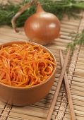 Korean Carrot Salad On A Bamboo Napkin