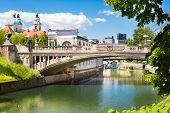 Dragon bridge in Ljubljana, Slovenia, Europe.