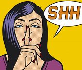 woman with silence sign pop art