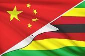 Series Of Ruffled Flags. China And Republic Of Zimbabwe.