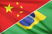 Series Of Ruffled Flags. China And Federative Republic Of Brazil.
