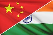 Series Of Ruffled Flags. China And Republic Of India.