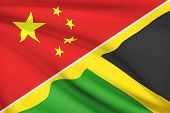 Series Of Ruffled Flags. China And Commonwealth Of Jamaica.