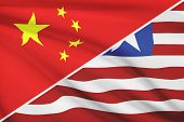 Series Of Ruffled Flags. China And Republic Of Liberia.