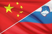 Series Of Ruffled Flags. China And Republic Of Slovenia.