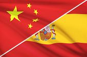 Series Of Ruffled Flags. China And Kingdom Of Spain.