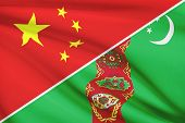 Series Of Ruffled Flags. China And Turkmenistan.