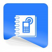 phonebook blue sticker icon