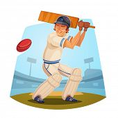 Batsman. Cricket player. Vector image