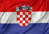 Closeup of silky Croatian flag