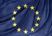 Closeup of silky Europa, European Union flag