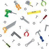 Seamless retro pixel game construction tools vector