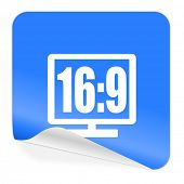 16 9 display blue sticker icon