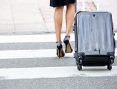 pic of zebra crossing  - Low section businesswoman crossing street with rolling luggage - JPG