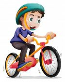 stock photo of headgear  - Illustration of a young boy riding a bicycle on a white background - JPG