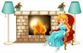 Illustration of a princess near the fireplace on a white background