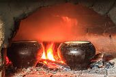 Cooking in the traditional Russian oven
