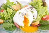 poached egg and salad