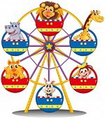 stock photo of carnival ride  - Illustration of a carnival ride with animals on a white background - JPG