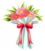 Illustration of a boquet of pink flowers on a white background