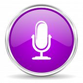 microphone pink glossy icon