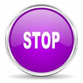 stop pink glossy icon