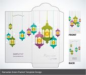 Vector Muslim Oil Lamp Elements Ramadan Money Green Packet Design. Translation: Ramadan Kareem - May
