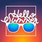 Summertime rbackground with sunglasses and text Hello Summer