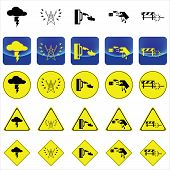 Warning sign for electricity shock from thunder, high voltage pole, wet hand vector