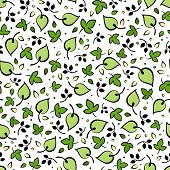 Seamless pattern with green leaves. Vector illustration.