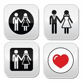 Wedding married couple white icon set on black