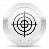 target silver glossy web icon