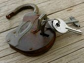 old padlock with keys on wooden background