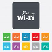 Free wifi sign. Wifi symbol. Wireless Network.