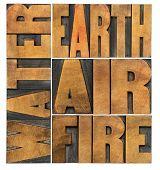 water, earth, air and fire - four philosophical elements concept - isolated word abstract in letterpress wood type