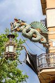 Barcelona, Spain - May 2: Dragon Of Casa Bruno Quadros Or Casa Dels Paraigues May 2, 2014 In Barcelo