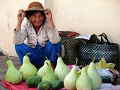 Phan Thiet, Viet Nam - Feb 19, 2009:  Vietnamese Woman Selling Vegetables In The Market. Every Day F