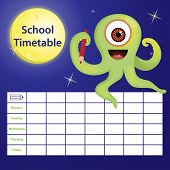 School Timetable With Cartoon Monster