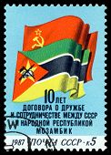 Vintage  Postage Stamp.  Flags Of  Ussr And  Mozambique.