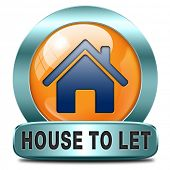 For rent sign, renting a house apartment or other real estate to let label. Home flat or room to let icon.
