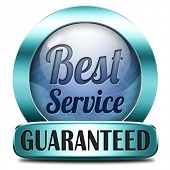 best service 100% customer satisfaction guaranteed sticker label or button