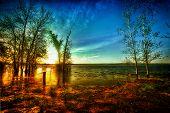 HDR Sunrise over Calm Lake