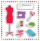 Sewing Stickers, Rainbow Colors